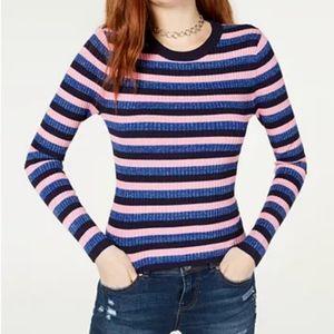 Striped Metallic Glittery Ribbed Sweater